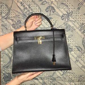 Black leather box bag